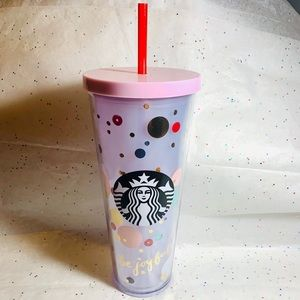 Starbucks pastel dot and sequin holiday tumbler